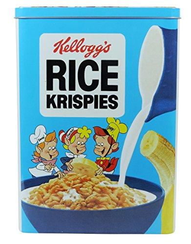 Viva Haushaltswaren Lot de Kellogg's Boîte avec boîte métallique Motif boîte de conservation au design rétro Rice Krispies de 18 x 25 x 10 cm