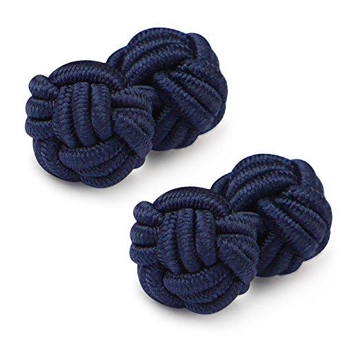 HONEY BEAR 1 Paar Herren/Damen Seide Stoff Knoten Seidenknoten Manschettenknöpfe für Hemd/Kleid zum (Navy blau 2)