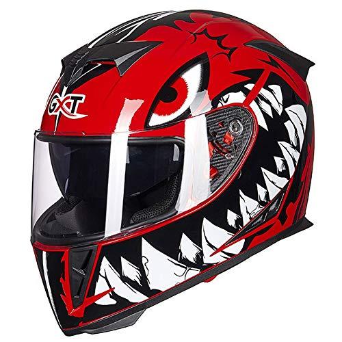 Wwtoukui Casco de Moto Negro Y Rojo Cool Eagle Eye Big Tooth