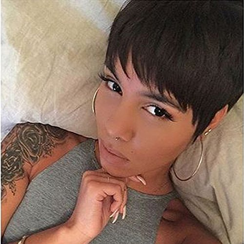 HOTKIS Human Hair Short Wigs for Black Women African Americans Short Pixie Cut Bob Wigs Short Black Hair Wigs