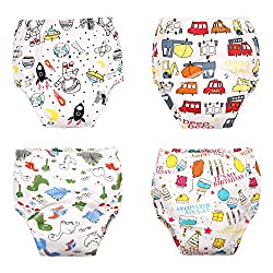 Image: MINI PANDA Potty Training Underwear Boys Reusable Potty Training Pants Nighttime Underwear for Toddlers Cotton 4 Pack