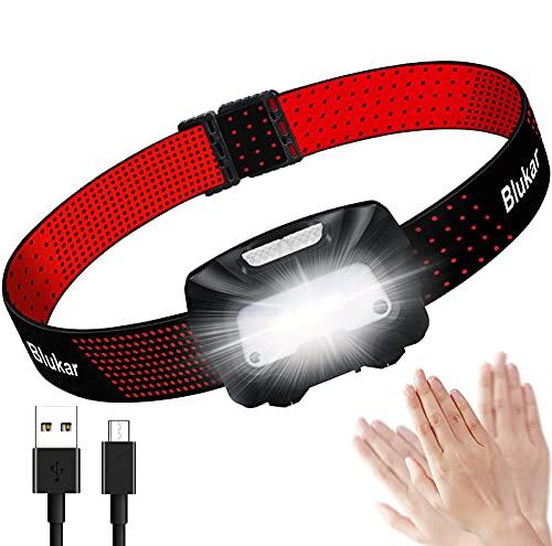 Linterna Frontal LED Recargable, Blukar COB Linterna Cabeza Recargable USB de 6 Modos, Super Brillante Con Modo de Inducción Ligera y Impermeable para Correr, Acampar, Pescar, Ciclismo 🔥
