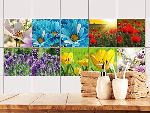 Fliesenaufkleber Küche Schönes Design, Klebefliesen Blumen, Fliesenfolie Bad Bunte Blumenweise, Vinyl Fliesen selbstklebend Natur / 10x10cm / Set 10 Stück