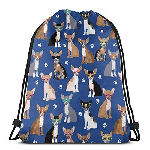 Chihuahua Gafas de sol de verano para perro con cordón, mochila para gimnasio, deporte, playa, regalo para hombres y mujeres de 36 x 42 cm