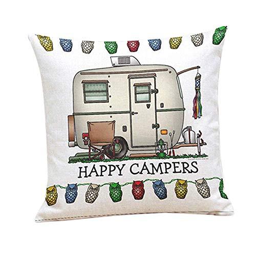 Premium-Qualität Happy Campers weiches Leinen Kissen Sofa Fall Taille Throw Kissenbezug Home Decor - 7Carry Stone