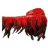 keland 2 yardas de pluma de gallo recortar flecos 5-8'en ancho DIY falda de mantón del cabo decoración de vestido de Halloween (rojo)