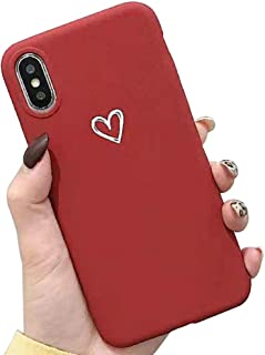 Topwin iPhone 8 Plus/7 Plus Soft TPU Case, Cute Matter Love Heart Pattern Ultra Slim Couple Case for Lovers Flexible Light Weight TPU Protective for Apple 5.5'' iPhone 8 Plus/7 Plus (Red)