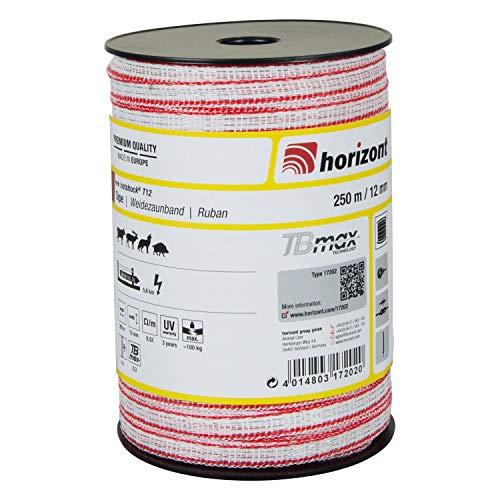 horizont Weidezaunband hotshock T12-TBmax, 250 m lang, 12 mm breit, Breitband Litze, Weidezaun Strom, Elektrozaun, für mittlere Zäune, 100 kg Bruchlast, Band, Litze Weidezaun