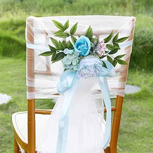 8 Paquetes Silla de boda Decoraciones Pajarita Silla suave Faja Lazo Decoración de cinta para la ceremonia de la boda Silla de la iglesia Arcos de banco