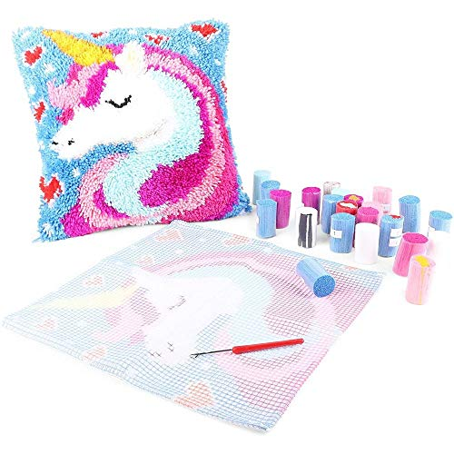 Unicorn Latch Hook Kit for Kids and Beginners, Printed Canvas (26 Pieces)