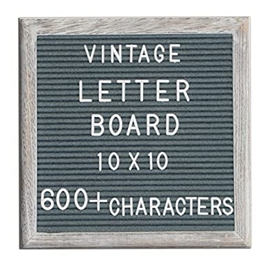 Changeable Letter Board Dark Grey Felt 10x10 Inches. Changeable Wooden Message Board Sign. White Vintage Letter Board With Large and Small Letter Sets. Distressed Wood Frame