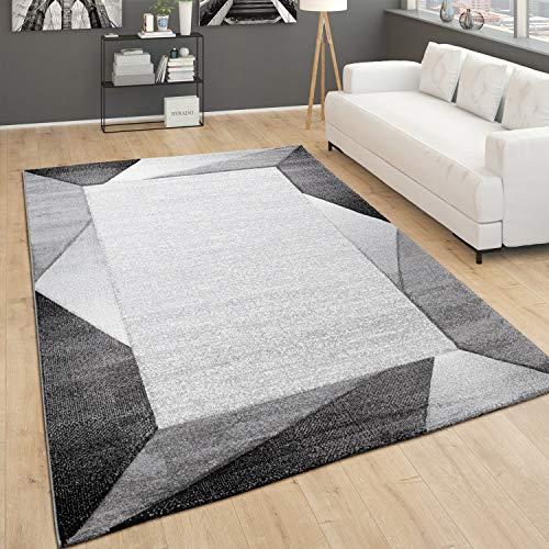 Tapis De Salon Poils Ras Moderne avec Bordure et Motif 3D Géométrique, Dimension:80x150 cm, Couleur:Gris