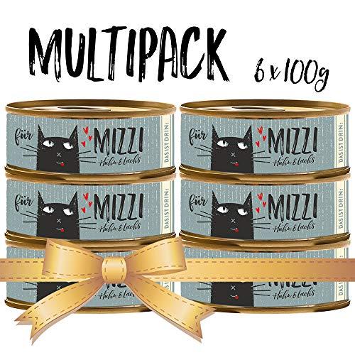 seit 1893 Bubeck Katzenfutter getreidefrei | mit Huhn & Lachs | hochwertiges Katzenfutter | 6 x 100g | Katzennassfutter Adult | hoher Fleischanteil