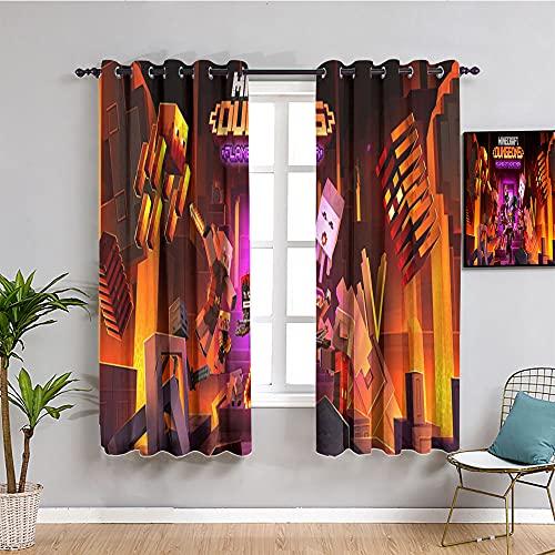 M-ine-craft Verdunklungsvorhänge, isoliert, mit Flammen, für Schlafzimmer, Kinderzimmer, Wohnzimmer, 213,4 x 160 cm