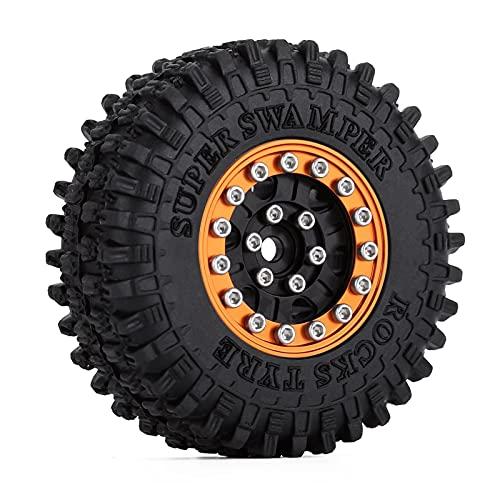 UJETML (H) Neumáticos RC Crawler 4pcs 52 * 18mm 1.0'Beadlock Rueda Llantas Llantas establecidas para 1/24 RC Crawler Car SCX24 90081 AXI00001 AXI00002 Deadbolt Neumáticos RC Slash 4x4 Neumáticos