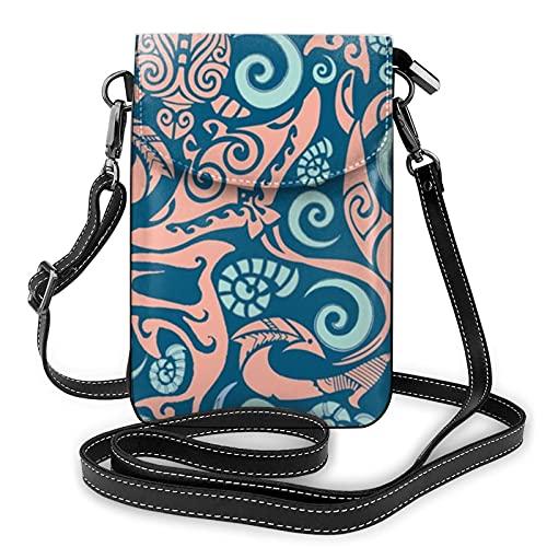 Bolso de hombro cruzado para mujer con diseño de elementos tribales del océano con diseño de tablero de remo de fondo coral para tarjetas de dinero, organizador de cuero sintético