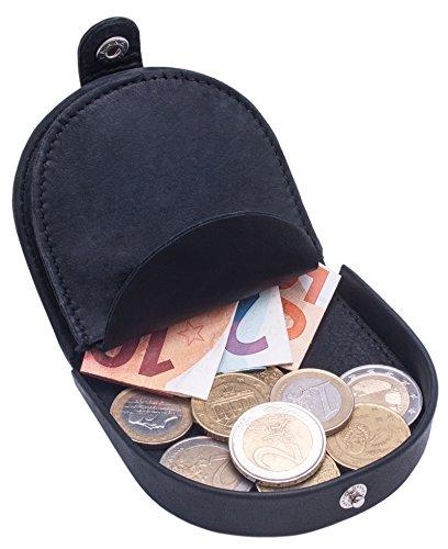 BelleBay Echt-Leder Münzbörse - Wiener-Schachtel | Geldbörse mit Kleingeldschütte - Schüttelbörse - Kleingeldbörse | Leder Minigeldbörse - Münzen Portmonee (Schwarz)