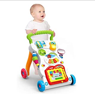 COOLBABY 4 in 1 Children Music Walker Baby Learn Walk Stand Trolley Toys Drawing Board Music Instrument Mini Phone