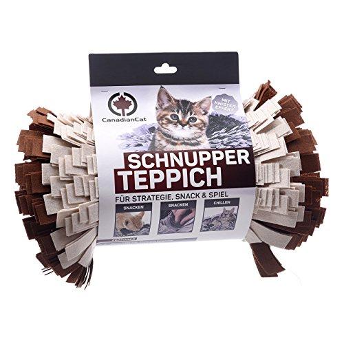 CanadianCat Company ® | Filz Schnupperteppich - Schnüffelmatte für Katzen in braun/beige