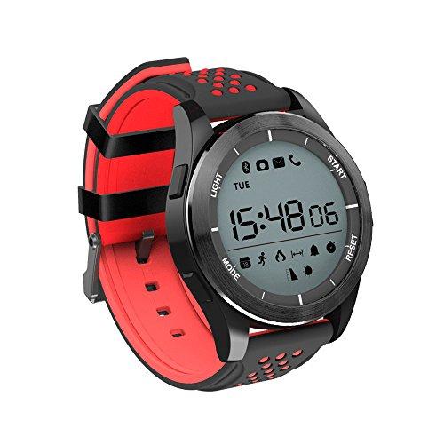 Redlemon Smartwatch Reloj Inteligente Bluetooth con Funciones Deportivas como Podómetro, Contador de Calorías, Distancia y más, Resistente al Agua, Recibe Notificaciones de Redes Sociales. Rojo
