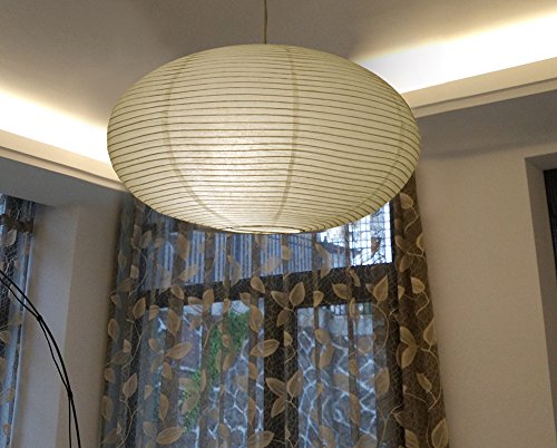 """TopAAA White Round Paper lantern 16"""", Chinese Japanese Pendant Lamp Shade, Hanging Paper Decorations,Easy to assemble (White-16inch-2PCS)"""