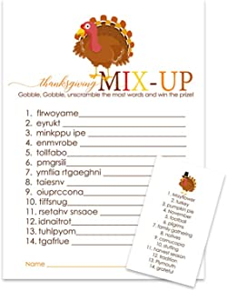 Thanksgiving Party Games Word Scramble (25 Pack) Fun Guessing Activity for Fall Celebrations