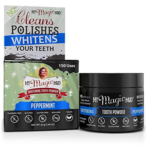 My Magic Mud - Whitening Tooth Powder, Polishing, Brightening, Charcoal, Peppermint, 1.06 oz. (150 uses)