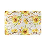 Alfombra de baño de otoño para decoración del hogar, color amarillo, verde, hoja de girasol, otoño, bohemio, alfombra de ducha de 15.7 x 23.6 pulgadas