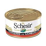 Schesir, Cibo Umido per Gatti Adulti al Gusto Tonnetto con Gamberetti, in Filetti e Morbida Gelatina - Totale 2 kg (24 Lattine Monodose da 85G)