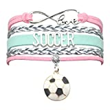 Soccer Bracelet Jewelry - HCChanshi Infinity Love Cute Soccer Ball Charm Bracelet Soccer Gifts For Women, Girls, Men, Boys, Soccer lovers, Soccer Team Soccer Themed Gifts (Pink,Silver and Mint Green)