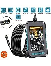 """AQOTER Endoscopio Industrial Lente Dual, 8mm 1080P HD Cámara de Inspección con Pantalla IPS de 4,3"""", Cámara de Endoscopio Impermeable con 8 Luces Led Ajustable, Snake Semirrígido Tubo"""