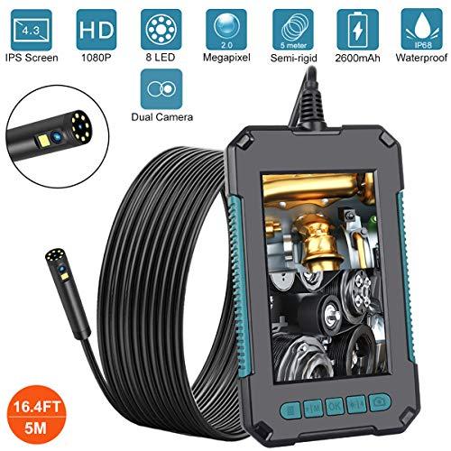 AQOTER Endoscopio Industriale Doppia Lente, 1080P HD Telecamera di Ispezione Schermo a IPS da 4,3', 8mm Telecamera D'ispezione Digitale IP68 Impermeabile con 8 luci a LED, Cavo Semi-Rigido