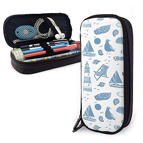 Bolsa para lápices de piel sintética con diseño de bosquejo azul, ideal para guardar lápices, para la escuela, estudiante o oficina