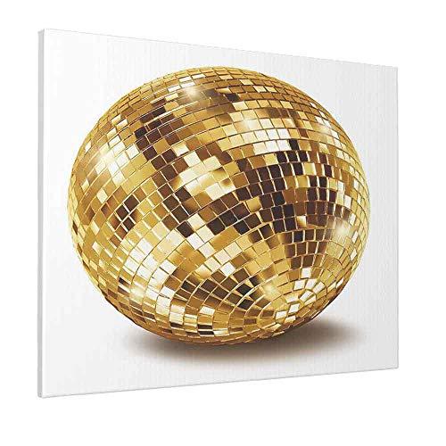 HOSNYE Golden Disco Mirror Ball Wall Art Painting Gold Glitter Canvas Print Picture for Living Room Bedroom Bathroom Office Decor Framed Artwork 20 x 24 inch