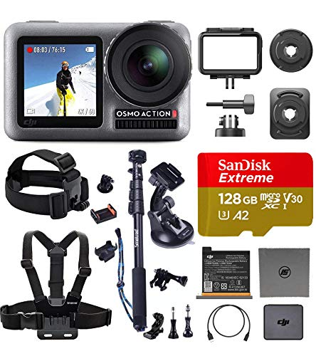 DJI OSMO Action Ultimate Bundle – Dual Touch Display Waterproof Digital Action Camera with 4K HD Video 12MP Photos Live Streaming Stabilization (Premium Accessories and 128 GB Memory Card Included)