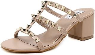 IDIFU Women's Sexy Studded Mid Chunky Heels Open Toe Summer Mules Sandals