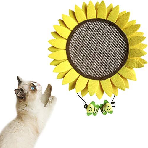 Umora猫爪とぎマット ひまわり 可愛い 猫のおもちゃ 爪磨き サイザル麻 置物 ストレス解消 運動不足解消 安全 家具保護