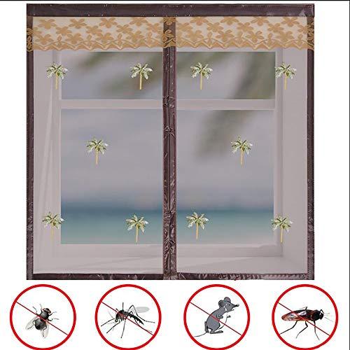 Fenetre Magnetique, Moustiquaire Magnétique, Facile à Installer Amovible, Anti Moustique, pour Fenêtre/Portes/Patio - Beige, Marron