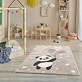 Fashion4Home Teppich Kinderzimmer - Teppiche für Kinderzimmer, Kinderteppich, Kinderteppich Mädchen, mit Bergen, Bär, Hase, Panda, Punkte, Herz, Sterne, Dots, Ballon - Creme-Beige – Größe – 120x170 cm