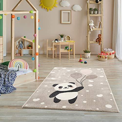 Fashion4Home Teppich Kinderzimmer - Teppiche für Kinderzimmer, Kinderteppich, Kinderteppich Mädchen, mit Bergen, Bär, Hase, Panda, Punkte, Herz, Sterne, Dots, Ballon - Creme-Beige – Größs – 160x230 cm