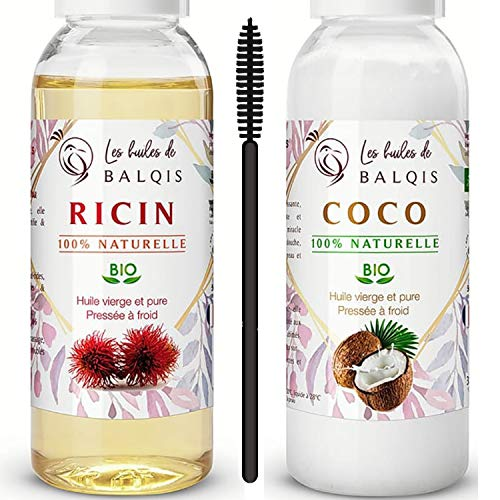 Huile de Noix Coco bio & Huile de Ricin bio pure 100% naturelle pressée à froid 2x50 ml hydrate la peau stimule et renforce la pousse des cheveux barbe sourcils ongles & riche oméga 6/9 vitamine A&E