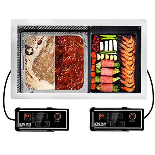 JGSDHIEU Multifunctionele Koreaanse grilloven en hete pot Twee-in-één barbecue Gegrild vlees Pan elektrische rookloze indoor grill