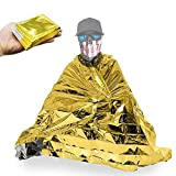 Emergency Blanket Mylar Survival Blanket 83' x 63' Two-Sided Extra Large Moisture Proof and 90 Percentage Heat Retention Foil Space Solar Emergency Thermal Blanket Pack of 10