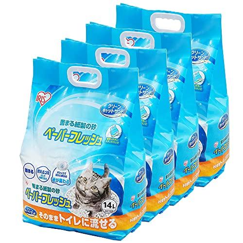 アイリスオーヤマ 猫砂 ペーパーフレッシュ トイレに流せる 固まる スタンドパック PFC-14LS (紙製) 14リットル (x 4) (ケース販売)