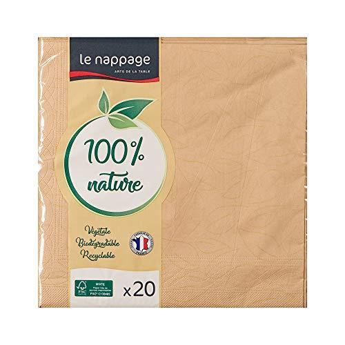 Le Nappage - Servilletas de Papel de 3 capas - Color beige - Servilletas de papel certificadas FSC® - Reciclables y biodegradables - Formato grande 40 x 39 cm - Set de 20 Servilletas beige