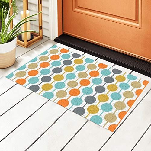 Welcome Doormat with Non-Slip Waterproof Backing,Retro Circles Mid Century Modern Home Indoor Entrance PVC Rug Pad Floor Mats for Outdoor Door Kitchen Bathroom 23.6'' x15.7''