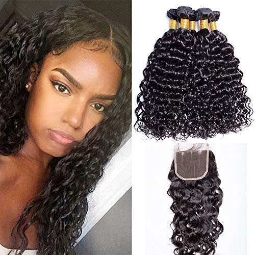"""Maxine Brazilian Water Wave 3 Bundles with Closure 10A Unprocessed Virgin Hair with 4""""4"""" Lace Closure Three Part Natural Color 10 12 14+10inch"""