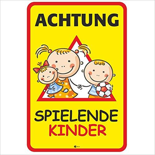 Hinweis-Schild Achtung spielende Kinder I Größe 40 x 60 cm I Straßen-Warnschild Spielstraße Spielplatz I Vorsicht Kids langsam fahren I hin_405