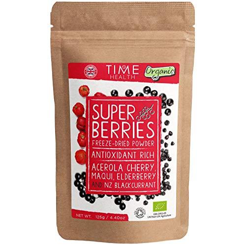 Organic Super Berries - 125g Freeze Dried Powder - Acerola Cherry, Maqui, Elderberry & NZ Blackcurrant - Superfood Blend - Antioxidant Rich (125g Powder Pouch)