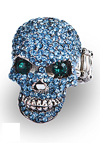 DC Bague Tete de Mort Pirate Deguisement - Metal Strass - Bleu Vert - 8347
